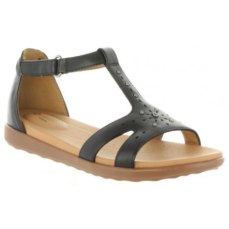 Clarks. Un Reisel Mara. Black leather sandal.