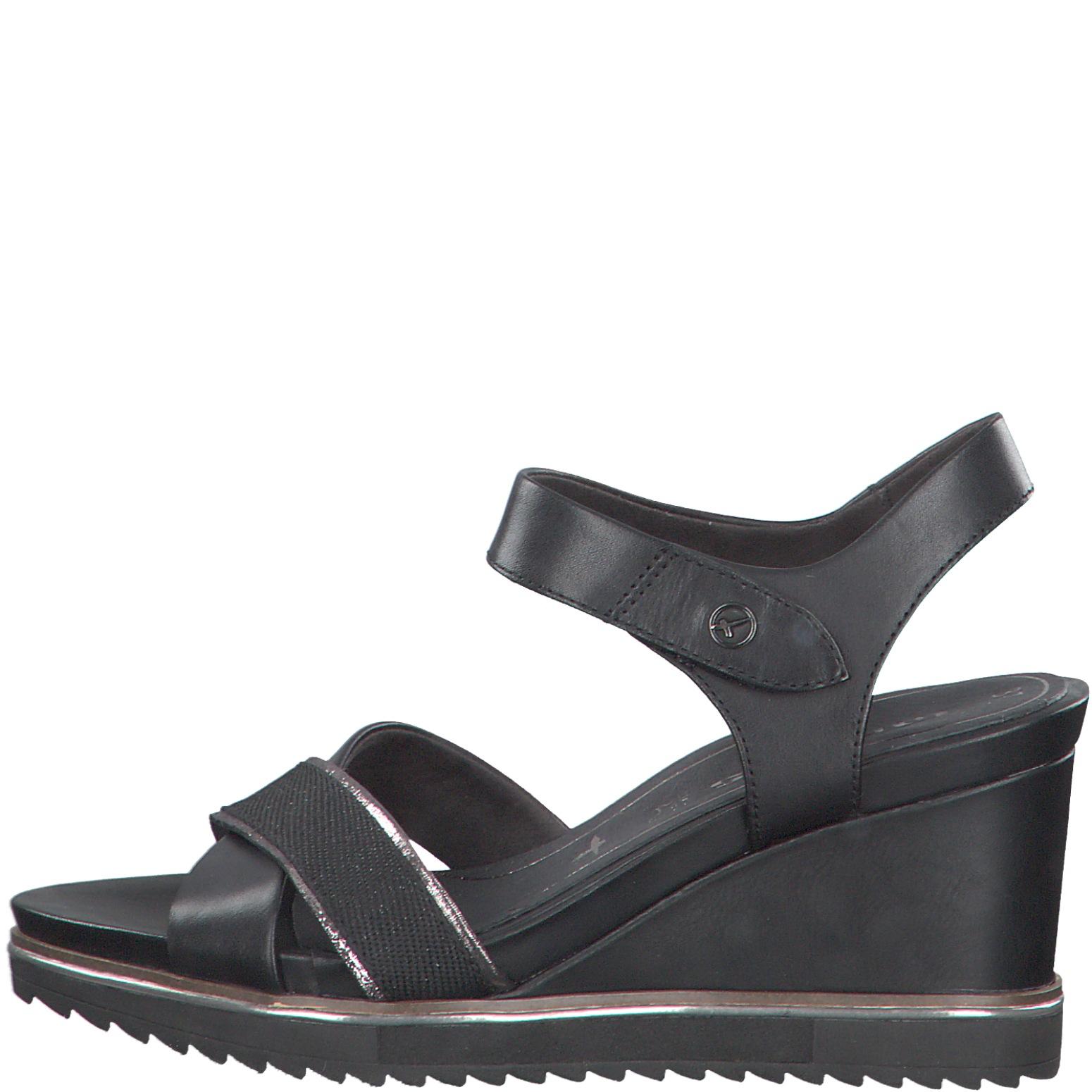 Tamaris 1 1 28350 24 003 Black Leather Sandal.